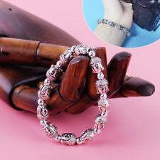 Tibet Lucky Buddha Armband Lava Stein Perlen Antik Silber Bracelet Vintage