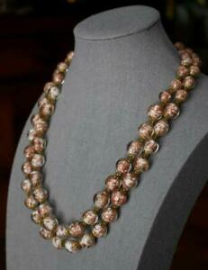 LOVELY WHITE CLEAR COPPER FLECKED ITALIAN ART GLASS BEADED DOUBL STRAND NECKLACE