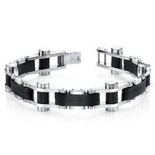 Sleek Sophistication Matte Black Mirror Finish Stainless Steel Mens Bracelet