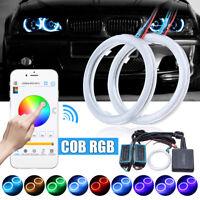 2X RGB 70MM 70 COB LED Angel Eye Light APP Wireless Control Halo Ring Waterproof