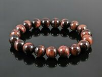 Natural 5A Red Tiger Eye Round Stone Bead Stretch Bracelet