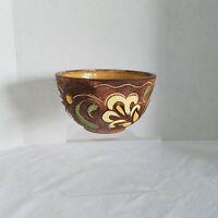 Vintage Brayton Laguna California Pottery Small Bowl Brownw/white yellow green