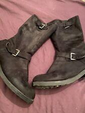 Black Suede Plus Size Calft Length Wide Fit Size 8 Boots