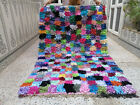 Handmade Vintage Moroccan Azilla Rug Tribal Rug Beni Ourain Berber Carpet