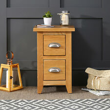 Cheshire Oak Slim 2 Drawer Bedside - Small Narrow Lamp Table - BRAND NEW - AD02