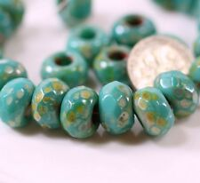12mm, Large Hole Roller Beads, Green Turquoise w/Picasso Finish, 4 Pieces, 0046