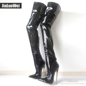 Womens Sexy Super High Heels 18cm Pointed Toe Thigh High Boots Zip Shoes Patent