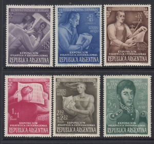 Argentina 1950 Inter. Philatelic Exhibition set of 6 stamps. SG 820-525. MVLH
