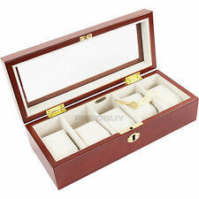 Mele & Co Men's 5 Watch Lock Box Copper Brown Wooden Glass Display Case Gift