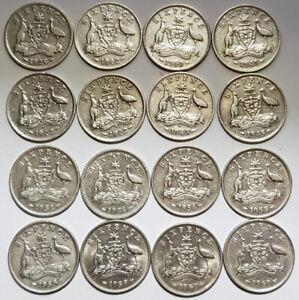 16 x Australian Sixpence 92.5% 50% Silver Pre-decimal Coins 1925 1940 1942s 42d