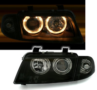 BLACK ANGEL EYE HEADLIGHTS HEADLAMPS FOR AUDI A4 B5 11/1994- 01/1999