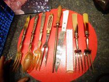Ancien Service de Table 9 Cuillère Fourchette Salade Pain Gigot Fusil à Aiguiser