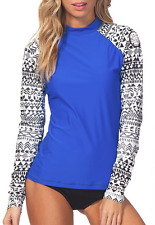 NEW Women's RIP CURL WETTY Long Sleeve UV RASHGUARD - Blue Black White - XS