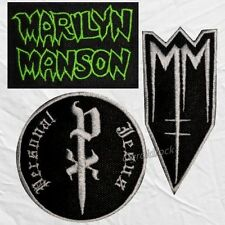Set Marilyn Manson Embroidered Patches Born Villain Portrait American Family Pj