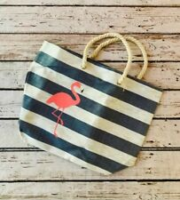 Adorable flamingo beach tote bag. Large bag, rope blue and white stripes, straw