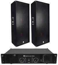 "(2) Rockville RSG15.24 Dual 15"" PA Speakers + Rockville RPA9 Power Amplifier Amp"