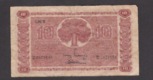 10 MARKKAA VG BANKNOTE FROM FINLAND 1945 PICK-85