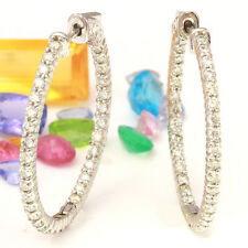 2.20 Carat Natural Diamond 14K Solid White Gold Diamond Hoop Earrings