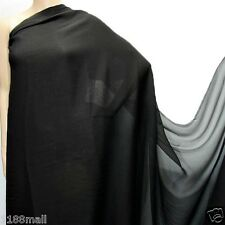 8 YD Black Pure Silk Georgette Chiffon Fashion Dress Fabric Online #Black