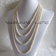 """100"""" 4-6mm White Freshwater Pearl Necklace Strand Jewelry Natural Color UE"""