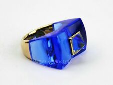 BACCARAT 18K SOLID GOLD GUET APENS AQUAMARINE SAPPHIRE RING SIZE 6,5 US 53 NEW