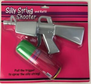 """Silly String Silver 11"""" Shooter and Refill - BHS New Old Stock / Sealed"""