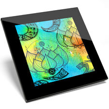 1 x Awesome OM Lotus Flower Glass Coaster - Kitchen Student Quality Gift #8161