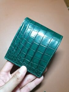 green GENUINE Alligator,CROCODILE s bally Leather Skin MEN'S BIFOLD WALLET