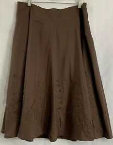 NWTs By JJ Fit & Flare Skirt Sz L Brown Appliqued Bronze Beads Midi Cotton Lined