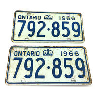 Set 2 Ontario License Plates Pair Vintage 1966 Canada Blue Lettering 792-859