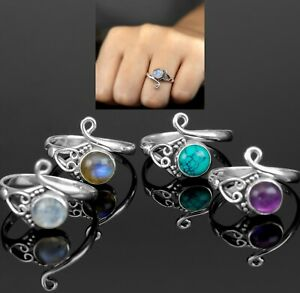 Adjustable Sterling Silver Ladies Turquoise Moonstone Ring Boxed Gift Jewellery