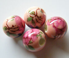 30pcs 10mm Round Porcelain/Ceramic Beads - Peach / Dark Pink Flowers