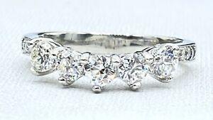 estate 1.10 ct 5 x DIAMOND curved anniversary band ring PLATINUM  (VIDEO)
