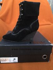 RMK Manilla black suede laced ankle boots , size 37.