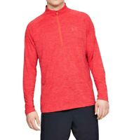 Under Armour Mens Red Size Medium M Activewear Quarter-Zip HeatGear $40 #029