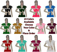 Ruffle Wrap Top Choli Belly Dance Club Tribal Boho Tie Dress Haut Chiffon Blouse