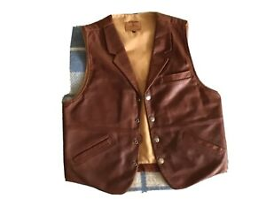 Mens Coronado Leather Brown Concealed Pockets Vest 42 with Bison Snaps