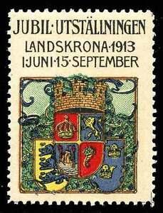 Sweden Poster Stamp - 1913 Jubilee Exhibition Landskrona