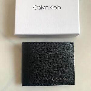 PROMO Porte-cartes Portefeuille CALVIN KLEIN Cuir Noir Homme Neuf Authentique