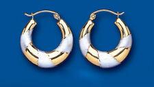 Oro Pendientes De Aro Criollo Dos Colores Oro Blanco y Amarillo Aros 20mm