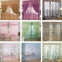 Voile Door Curtain Window Room Drape Divider Totem Floral Sheer Scarf Valance