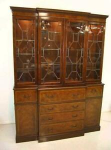 "Baker China Cabinet Breakfront Burled Mahogany Banded Inlay 60"" Wide Bookcase"