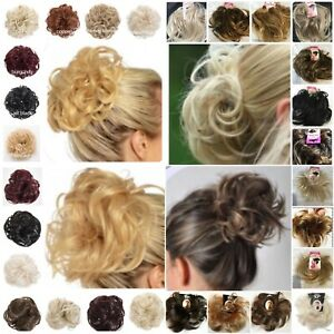 Synthetic Elasticated Hair Scrunchie Messy Bun Wrap Curly Wavy Spiky Large Small