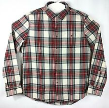 21 Men Classic Button Up Long Sleeve Shirt Western Plaid Sz L Large New Tag Red