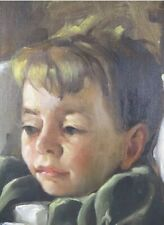 Original Listed Artist Alice Roberts Oil On Board Portrait Young Boy