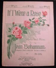 If I Were A Rose Antique Large Sheet Music 1909 Jean Bohannan English German (O)
