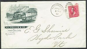 USA 1897 2c on Rutland Vermont Train Pictorial Advertising Cover