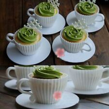 Silicone White Cake Foundant Muffin Baking Cups Mould Mold with Saucers 4pc Set