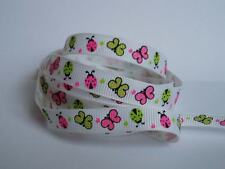 "10 Metres White Ladybirds Butterfly Grosgrain Ribbon 3/8"" 9mm 10mm Wide"