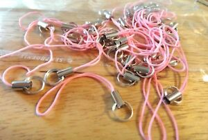CLEARANCE 30 Pink & Silver 60mm long Cord Cell Phone Lanyards for a Charm